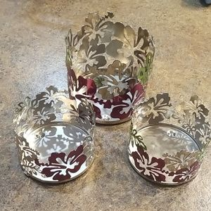 🦋2 for 10🦋 3 Sonoma life hibiscus candle holders